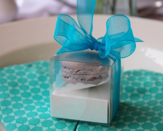 Clear boxed macaron favours